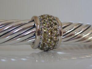 DAVID YURMAN 18K WHITE GOLD, SS SINGLE STATION YELLOW SAPPHIRE BRACELET 7mm