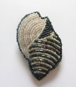 Pin/Brooch- SEASHELL  seed beads- white blue purple- metallic