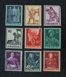 CKStamps: Switzerland Stamps Collection Scott#270-278 Mint H OG