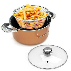 24cm Deep Fat Fryer Non Stick Chip Pan Casserole Pot Fry Frying Basket Glass Lid