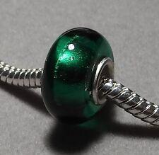 Emerald GREEN Foil Handmade European Murano Glass Bead      (008)