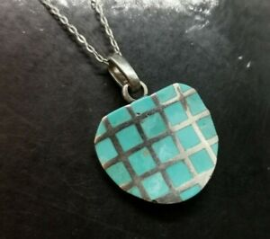 Sterling Silver Blue Turquoise Inlay square APPLE chain Necklace (94A)