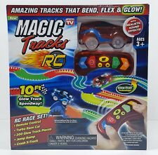 Ontel Magic Tracks RC Race Set 10ft Glow Speedway Remote Control Red Car NEW