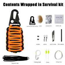 Outdoor Camping Paracord Grenade Survival Fishing Kit Key Chain+Fire Starter etc