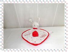 ♫ - Doudou Plat Lapin Blanc Rouge Smile Rabbit Etoiles Grelot Jemini