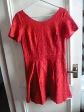 OASIS Red Lace Tea DRESS 14 Wedding / Party COTTON Blend