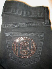 Bebe Carmen 5 Pocket Boot Leg Womens Black Denim Jeans Size 25 x 30  USA Bling