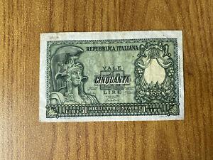 banconota LIRE 50 ITALIA ELMATA 1951 BOLAFFI