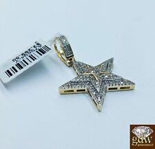Real 10k Yellow Gold 1.5 Inch Star Emoji Charm/Pendant with Real Diamonds, Angel