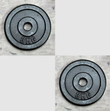 """2 x 3Kg Weight Discs, Cast Iron, 1"""" clearance hole, Plates for 1"""" Bars"""