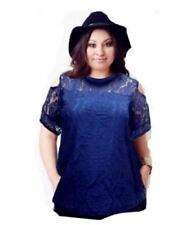 PLUS SIZE OPEN SHOULDER LACE BLOUSE 17070 (ROYAL BLUE)