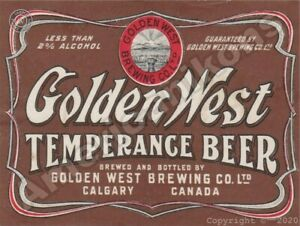 Golden West Temperance Beer NEW Metal Sign:  Calgary, Alberta - Canada