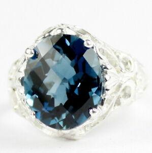 LONDON BLUE TOPAZ Sterling Silver Ladies Ring -Handmade • SR114