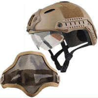 Tactical Airsoft Paintball Military Protective SWAT Helmet w/ Goggle + half Mask