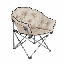 Mac Sports Foldable Padded Outdoor Club Camping Chair with Carry Bag, Beige
