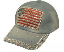 Showman Couture Bling Denim Hat w/ Crystal Rhinestone American Flag! 4TH OF JULY