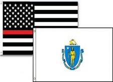 3x5 Usa Thin Red Line Massachusetts State 2 Pack Flag Wholesale Set Combo 3'x5'