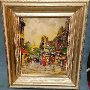 Antique Vtg Abstract Oil Painting The Streets Paris Scene Unknown Artist?