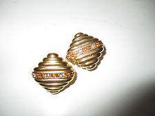 Splendido Multi-colore diamante Joan Rivers Oro Metallo Clip-On Orecchini Firmati
