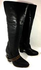 Steve Madden Rockiie Knee High Boots Black leather belted Sz 6.5 B