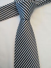 NEXT PADDED BLACK GREY WHITE STRIPED 3.75 INCH POLYESTER NECK TIE
