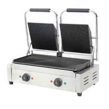More details for commercial panini grill press double dualit ribbed top sandwich toaster maker uk