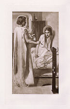 "WOW Dante ROSSETTI 1800s Antique Print Handmaiden of the Lord"" SIGNED Framed COA"