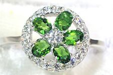 NATURAL GREEN CHROME DIOPSIDE & CZ 925 STERLING & 14K GOLD PLATED RING SZ 7  #69