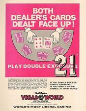 1980 AD Bob Stupak Vegas World Liberal Casino 21 Face-Up Cards Vintage Print Ad