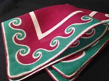 #5590🌟Vintage 40s Geometric Waves Kelly Green & Purple Pocket Handkerchief