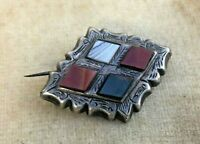 Antique Celtic Brooch Victorian Scottish Sterling Silver Agate Engraved Pin
