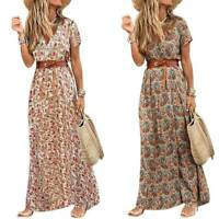 Womens Summer Floral Boho Long Maxi Dress Ladies Beach Holiday Casual Sundress