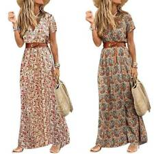Women Summer V-neck Boho Belted Long Maxi Dress Ladies Beach Holiday Sundress AU