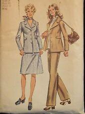 Amazing VTG 71 SIMPLICITY 9887 Unlined Jacket Skirt & Pants PATTERN 18/40B
