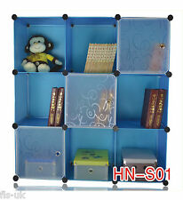 MODULAR  9 CUBE STORAGE SOLUTION ORGANISER / SHELVES / UNIT / FURNITURE - BLUE