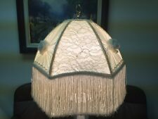 "Vintage Hand Crafted Hexagonal Lamp Shade Ivory Color w/Fringe, 16"" x 16"" x 8"" T"
