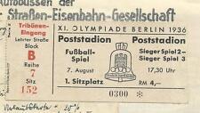 Olympia 1936 Fußball Eintrittskarte Norwegen-Deutschland, einzigartige Rarität