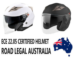 Open Face Motorcycle Helmet Dual visor Cruiser Scooter Australian Approved NEW