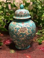 Ginger Jar/Urn/Vase With Lid. Porcelain Ware. Made In Hong Kong, Japan. ACF, 8""