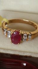 18k Iliana Yellow Gold Ruby Diamond Ring.size P