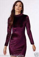 New Missguided UK 8 Chrissy Dogtooth Velvet Long Sleeve Bodycon Dress Plum
