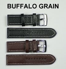 Mens watch strap BUFFALO GRAIN white stitching black brown leather 18mm - 24mm