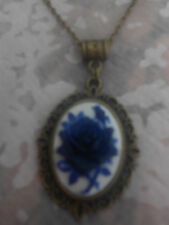 BLUE ON WHITE ROSE CAMEO NECKLACE