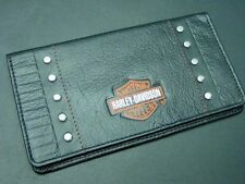 Black leather ? Harley Davidson check book cover cash hundred dollar bill fold