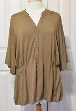 J. Jill Stretch Cocoa Bean Button Down Tunic w/ Elastic Waist Short Sleeve Sz XL