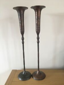 HAMMERED Dark COPPER CANDLESTICKS PAIR Candle Holder Feature Tall Retro Set Of 2