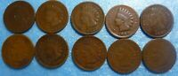 10 Coin  Indian Head Penny Cent Collection  1880 to 1889  #8089