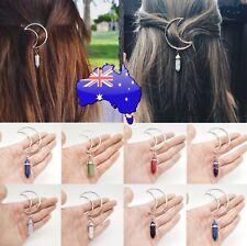 Crystal Quartz Stone Silver Crescent Moon Boho Hairpiece Hair Clip Pin Headwear