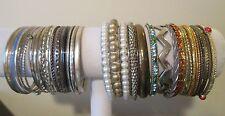 "41 Bangle Bracelet LOT 2 3/4"" D Mixed Metals Variety Enamel Rhinestone Bracelets"