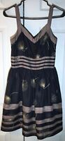 Burlapp Anthropologie 4 Black/Brown 100% Silk Dandelion Wish Fit and Flare Dress